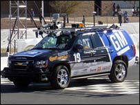 Winning car in the Darpa Challenge, a Chevrolet Tahoe