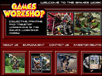 Screengrab of Games Workshop homepage, Games Workshop