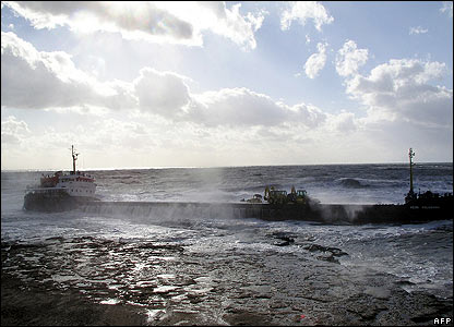A ship struck by waves during a storm over the Black Sea