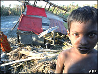 A child refugee of the Bangladeshi cyclone in Chalabangha village on 20 November 2007