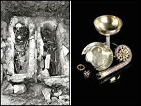 A chalice, platter, crozier head and ring were among the finds in the dig
