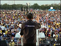 A PPP leader addresses a rally in Bangkok, 21/12