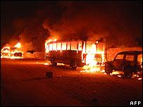 Burning vehicles in Hyderabad