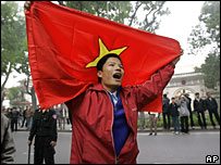 A Vietnamese protestor demonstrates against a Chinese move to exert control over two disputed archipelagos