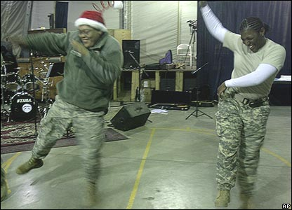 AP - US soldiers got into the party mood during celebrations at their camp in Kabul, Afghanistan.
