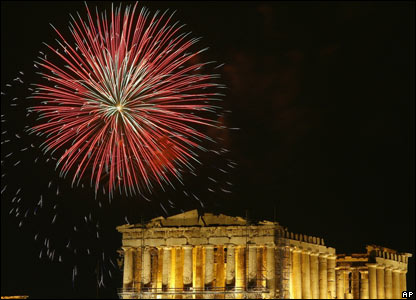 Fireworks in the parthenon