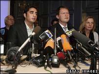 Bilawal Bhutto Zardari and advisors at a press conference