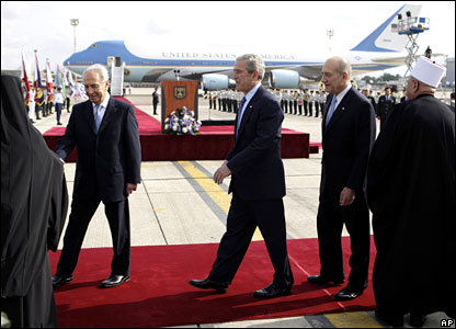George W Bush at Ben Gurion airport near Tel Aviv, Israel, on Wednesday, 9 January 2008