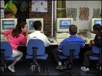 School children using computers, BBC