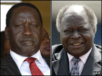 Raila Odinga (left) and Mwai Kibaki