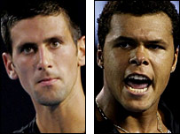 Third seed Novak Djokovic and unseeded Jo-Wilfried Tsonga