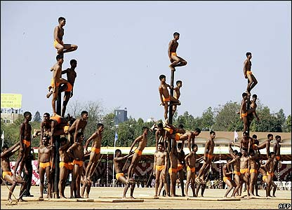 Indian soldiers from the Light Maratha Infantry perform a traditional sport called Malkhumb