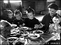 Dinner inside Nissan hut