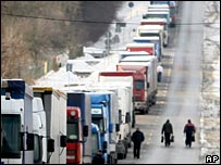 Queue of lorries at the Ukraine border with Poland