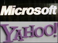 Microsoft and Yahoo logos