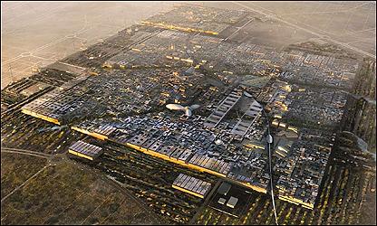Plano general del proyecto de Ciudad Masdar,  Emirato Árabe de Abu Dhabi