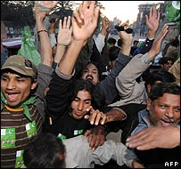 PML[N] supporters celebrate the election result