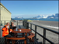 Tea at the Rothera base. Image: BBC