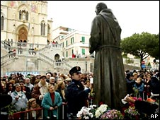 Statue of Padre Pio in Messina, Sicily in March 2002
