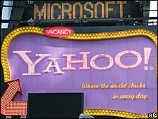 Microsoft and Yahoo signs in Times Square, New York