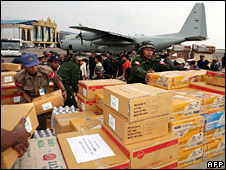 Thailand's air force loads up aid to send to Burma