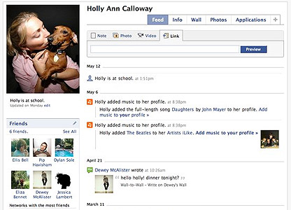 New look Facebook 'feed' page