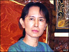 Aung San Suu Kyi pictured on 30 January 2008