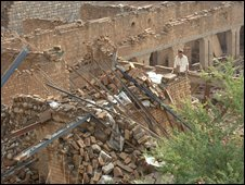 Buildings damaged by air force bombing