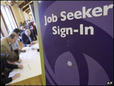 Jobseekers at a jobs fair in California. File photo