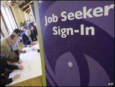 Jobseekers at a jobs fair in California. File photo