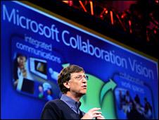Gates at a Microsoft presentation in 2005