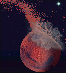 Artistic representation of the giant impact that formed the martian dichotomy (Jeff Andrews-Hanna)
