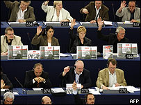 """Parlamentarios europeos durante la votación de la """"Directiva del Retorno"""""""