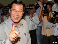 Cambodian Prime Minister Hun Sen after casting his vote at a polling station in Ta Khmao in Phnom Penh suburb