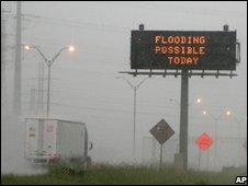 Heavy rain near Houston