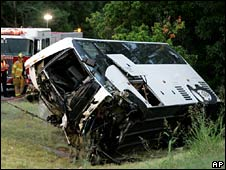 Bus wreckage in Sherman, TX