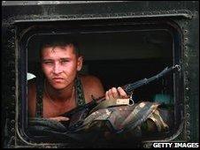 Russian soldier near Gori, 13 August 2008