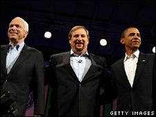 John McCain (left), Rick Warren (centre) and Barack Obama