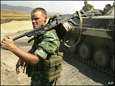 Russian soldiers near Gori, Georgia, on 18 August 2008