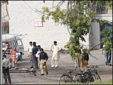 Police at the scene of the Wah bomb