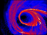 س�ابة مخلقة بالكومبيوتر تسقط في الثقب الأسود