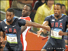 Tyson Gay and Darvis Patton drop the baton