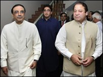 Pakistan People's Party leaders Asif Ali Zardari (L) Bilawal Bhutto Zardari (C) and ex-PM Nawaz Sharif in Islamabad on Tuesday 19 August 2008