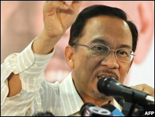 Malaysian opposition leader Anwar Ibrahim at a press conference in Permatang Pauh (25/08/2008)