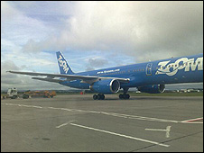 The grounded plane at Glasgow Airport