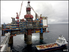 A gas platform off the coast of Norway