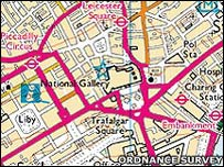 Mapa tradicional del centro de Londres