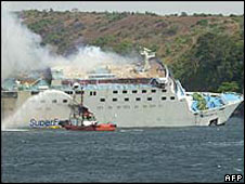 Superferry 14 on fire in Manila Bay in February 2004
