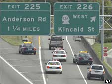 Police cars and suspect's vehicle on Interstate 5 in Mount Vernon, Washington