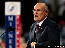 Rudy Giuliani speaks at the Republican convention in St Paul, 3 Sept